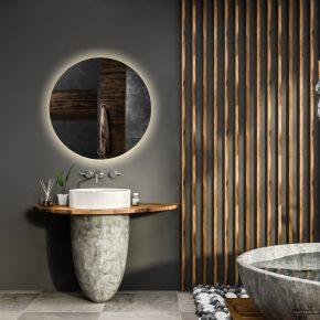 ronde spiegel in een badkamer